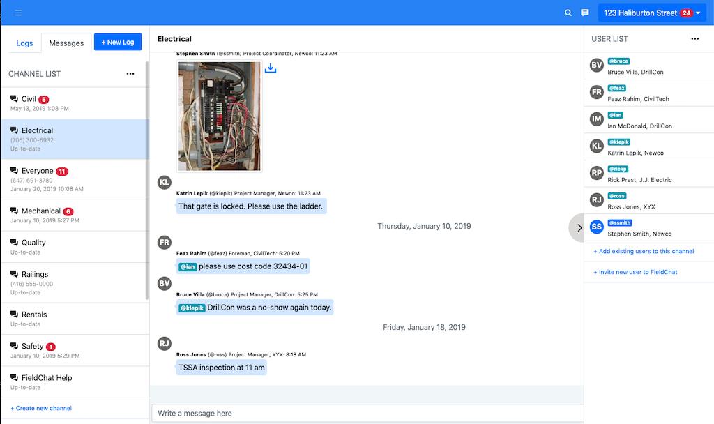FieldChat messages
