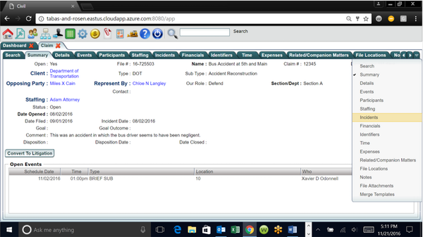 LegalEdge case summary screenshot