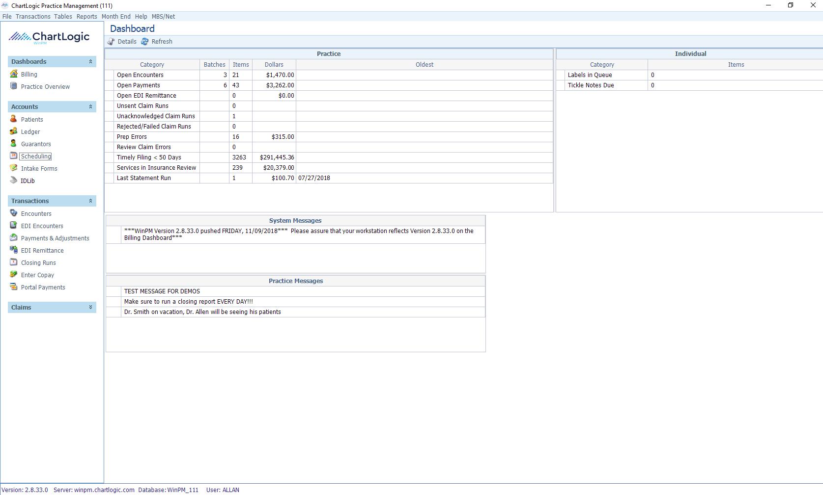 ChartLogic EHR Software - Billing dashboard