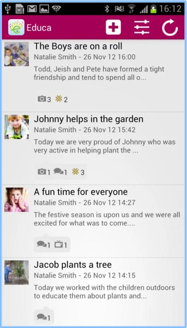 Educa screenshot: Share classroom observations