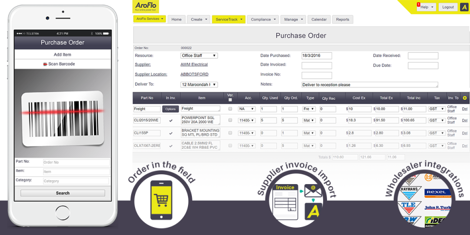 AroFlo Software - Purchase stock from field