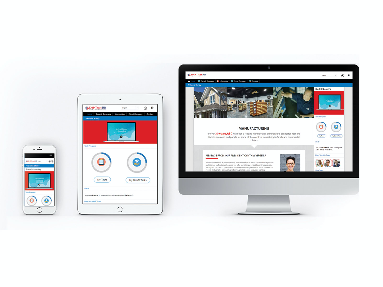 Works with easily branded new hire portals and pages that display  info and welcome the new hires