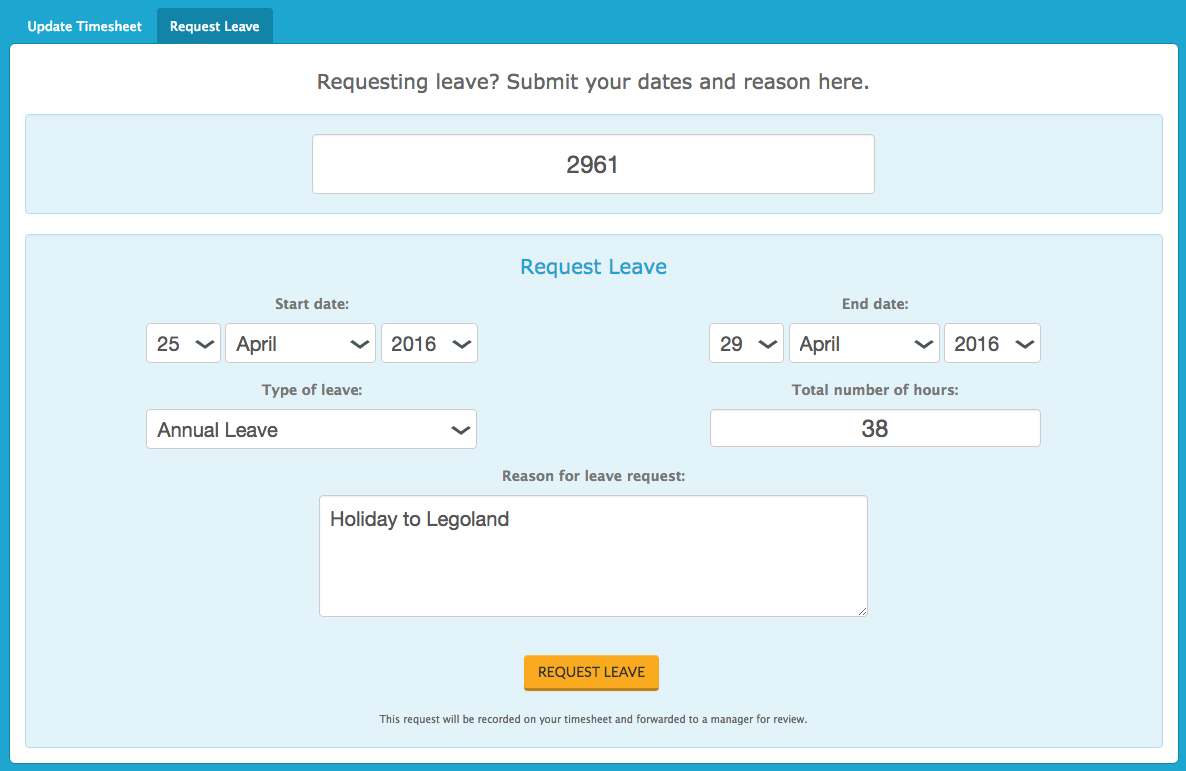Employees can submit leave requests - including the reason (optional) - via Tanda