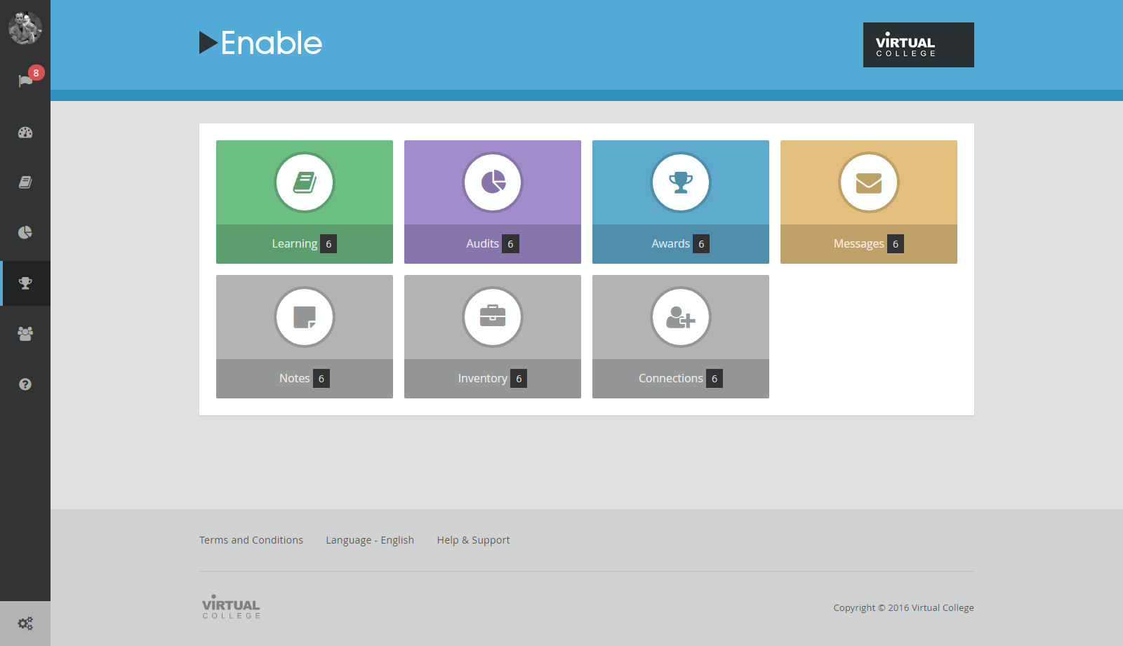 Enable LMS allows users to personalize tasks and tiles on the dashboard