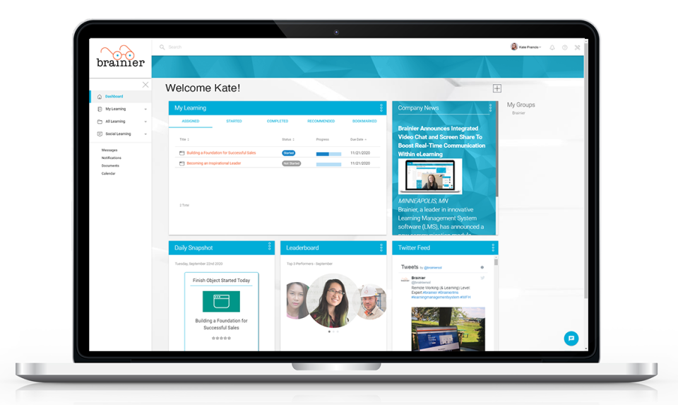 A typical user dashboard - completely customizable to display any relevant info fro the individual learner.
