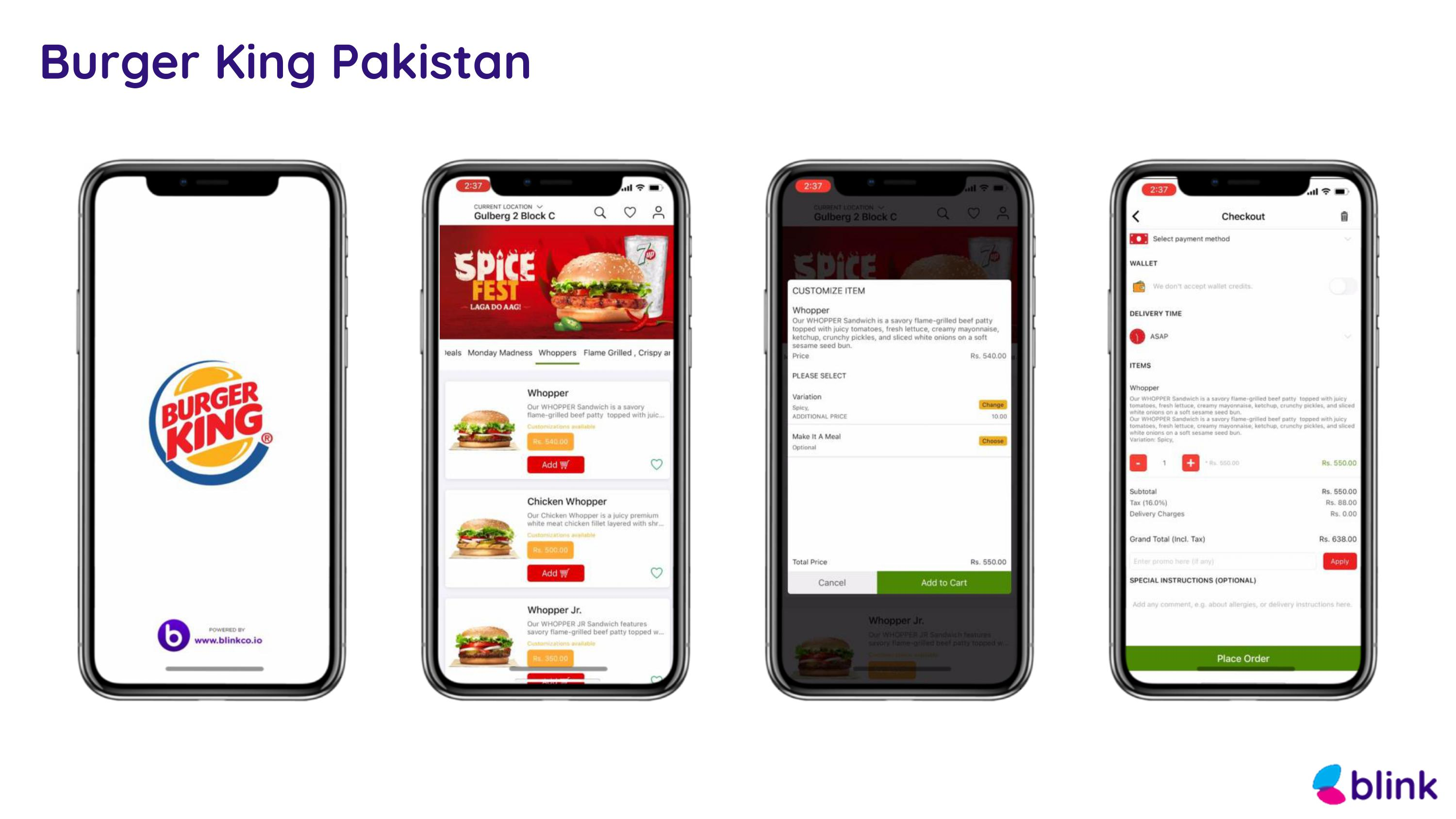 Burger King Pakistan - Mobile App powered by Blink