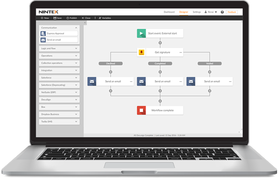 Nintex Workflow Cloud Designer boasts an intuitive drag-and-drop design canvas for describing workflows that span multiple systems