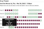 ThunderTix screenshot: Reserved Seating Section with Accessible Seat Options. Red seats indicate sold seats. Seats can also individually be marked as obstructed view.