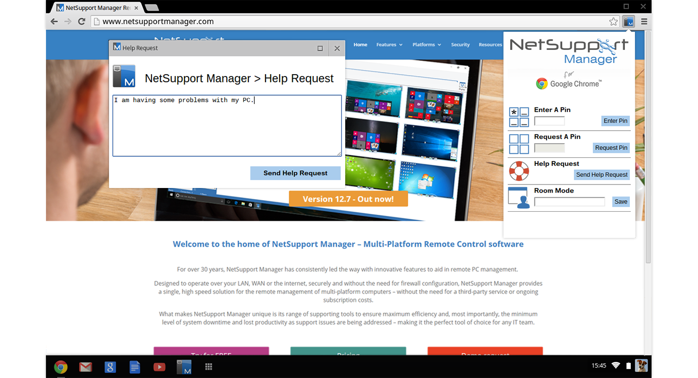 NetSupport Manager Chat - Conduct a two-way chat session between your workstation and one or multiple user devices.