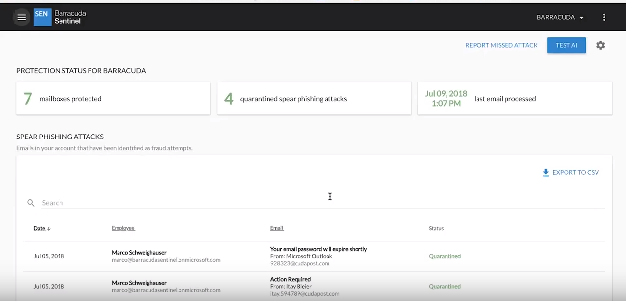 Barracuda Sentinel UI screenshot