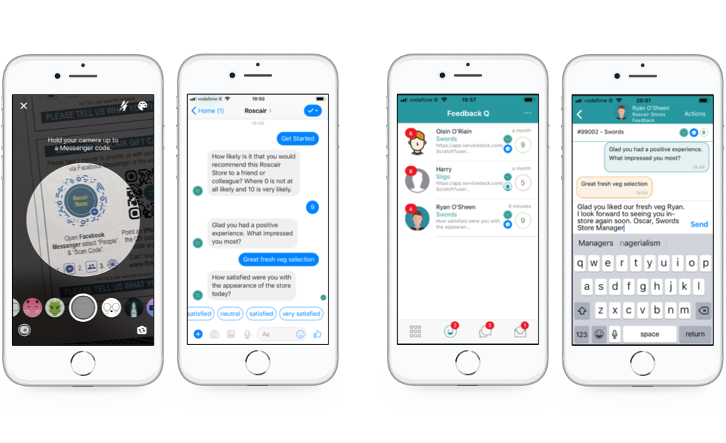 Consumers can provide feedback via Messenger and store staff can respond in real-time via the app
