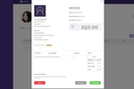 CoachVantage screenshot: Send branded invoices to clients. Recurring invoices can be set up as well.