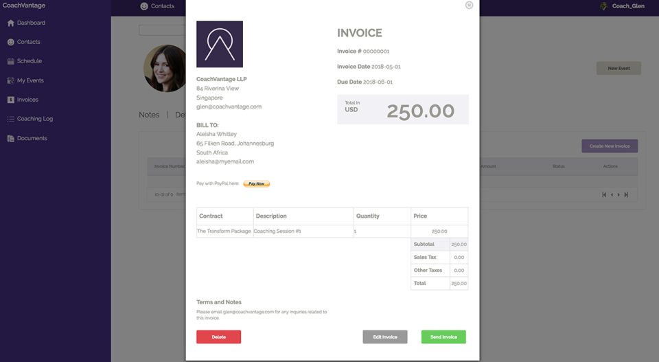 Send branded invoices to clients. Recurring invoices can be set up as well.