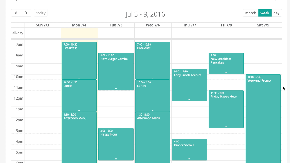 The calendar tool can be used to schedule screen changes