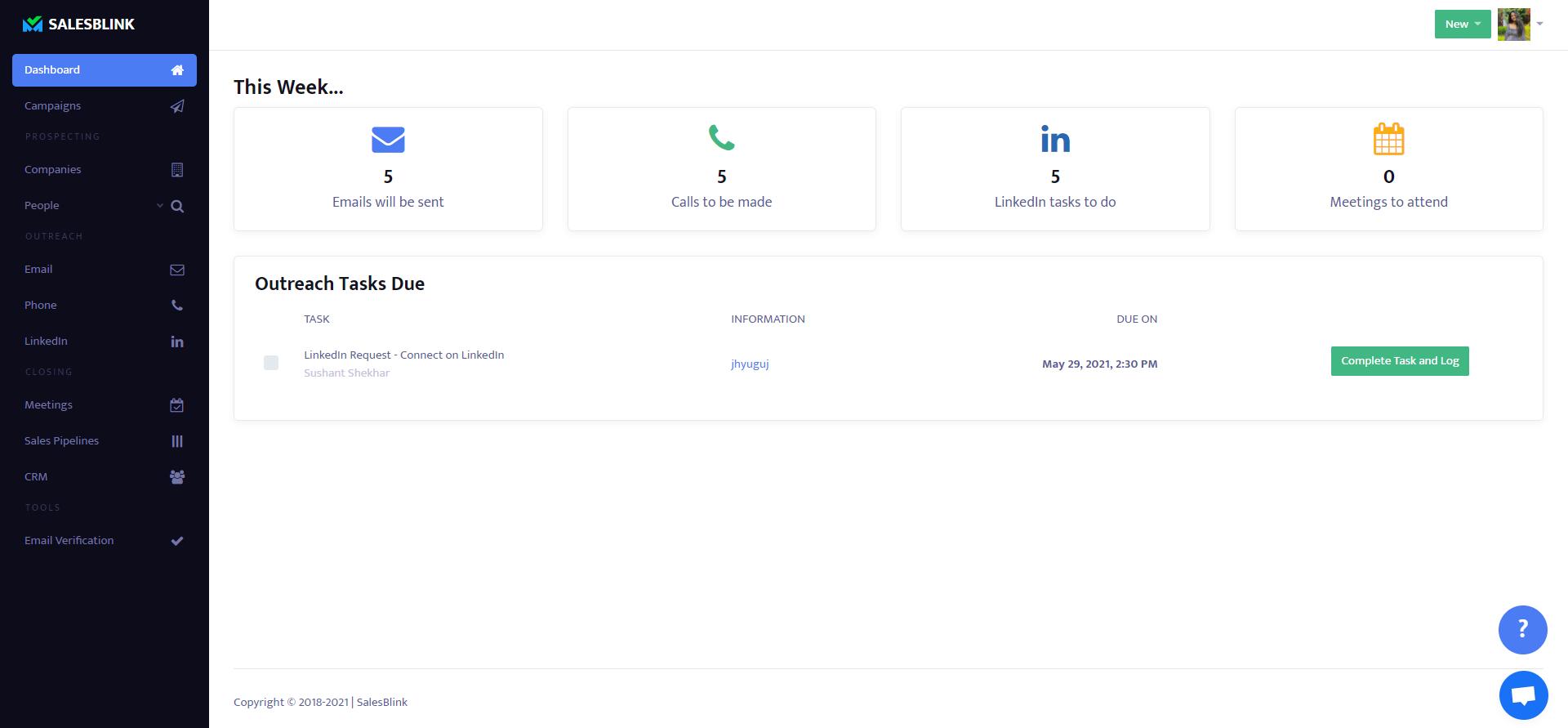 SalesBlink Dashboard