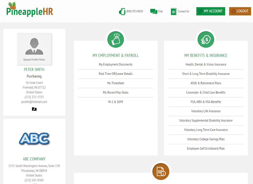 PineappleHR Software - Dashboard