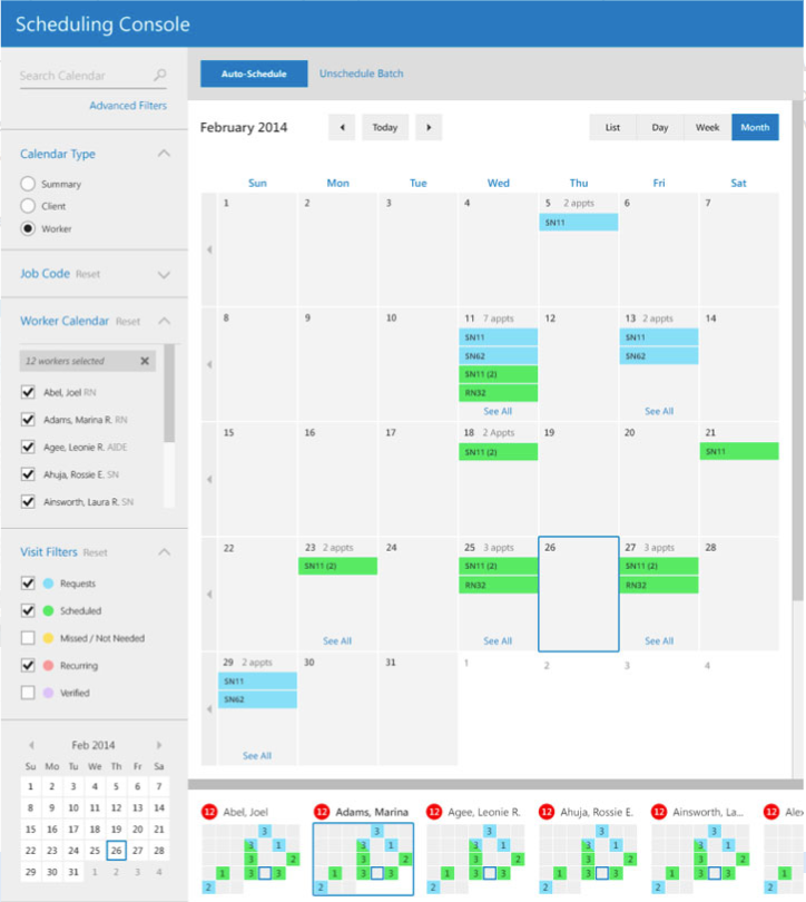 Color-coding functionality helps users understand schedules at-a-glance