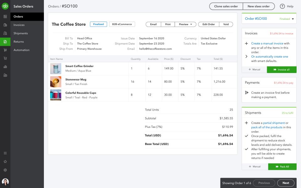 QuickBooks Commerce Software - QuickBooks Commerce sales order