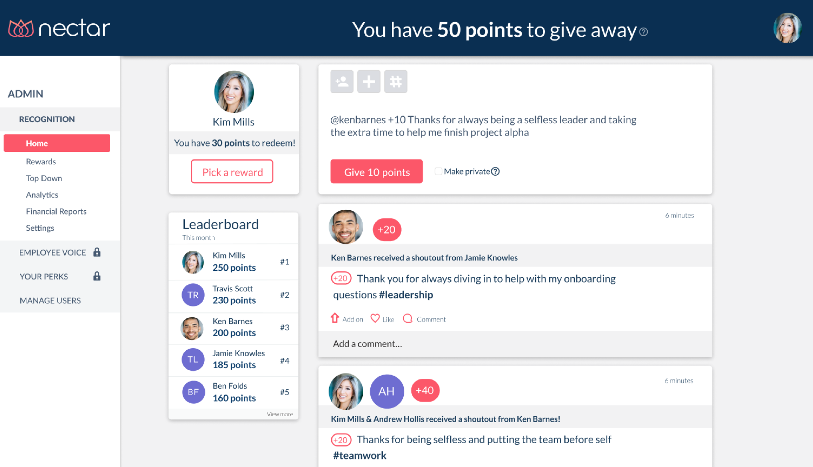 Nectar Software - Nectar social recognition feed