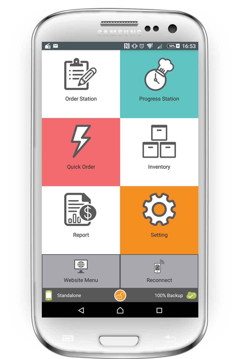 The user-friendly interface is designed for use by chefs, waiters and managers