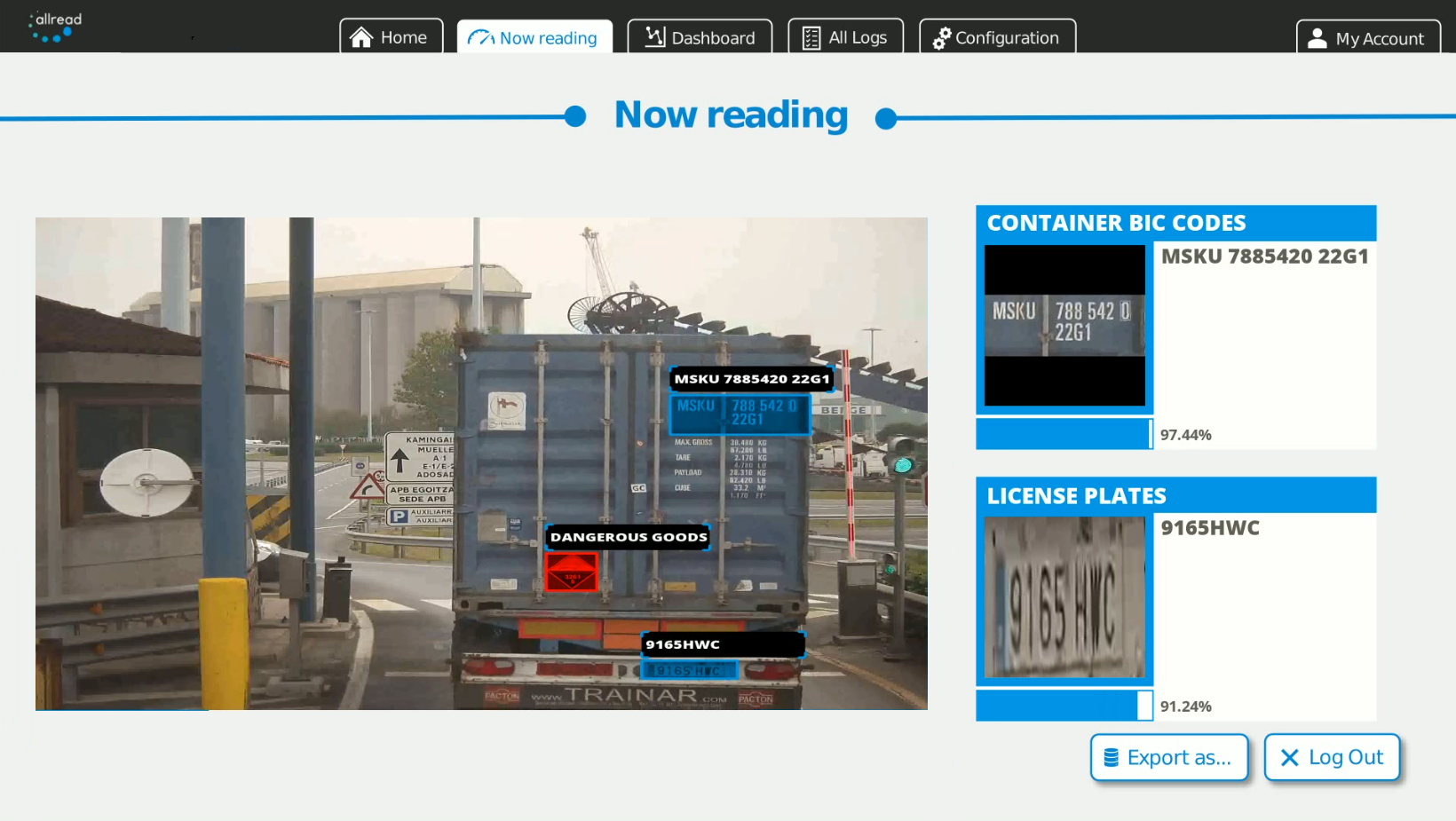License plates, ADR goods and containers ID and ISO codes spotting and reading from trucks.