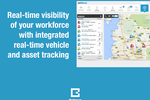 BigChange screenshot: Integrated real time vehicle and asset tracking plots fleet and job locations on live map views