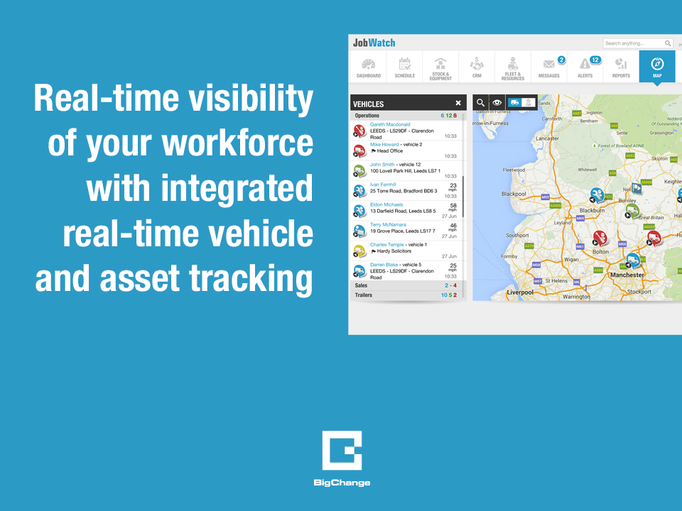 Integrated real time vehicle and asset tracking plots fleet and job locations on live map views