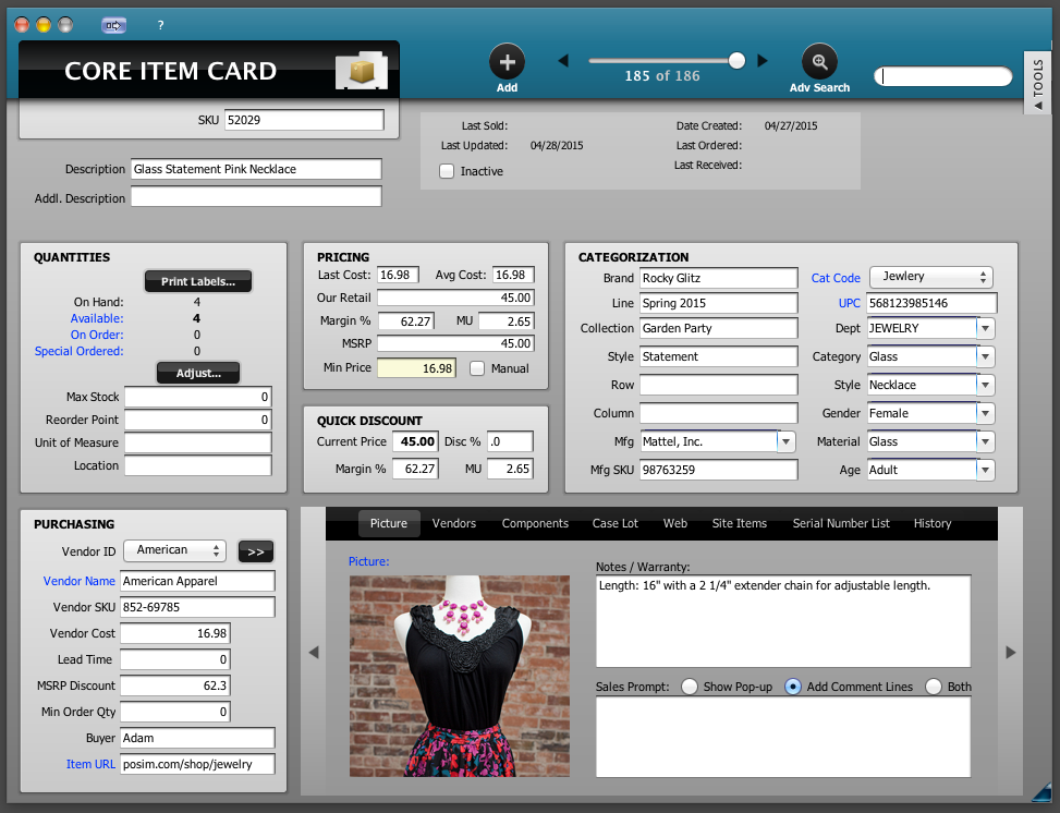 POSIM Software - Item card