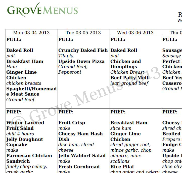 Manage prep/pull sheets using Grove Menus