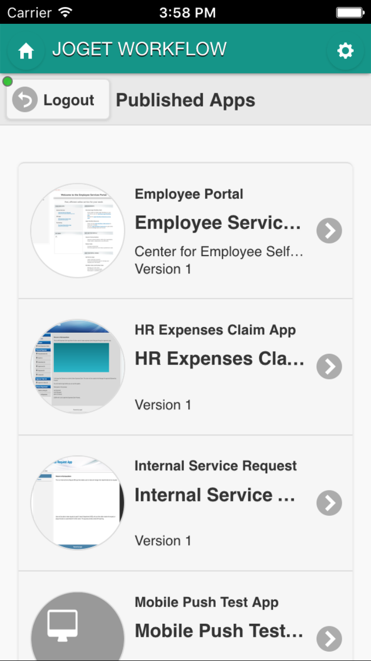 Joget Workflow Mobile: Apps are automatically optimized for mobile devices.