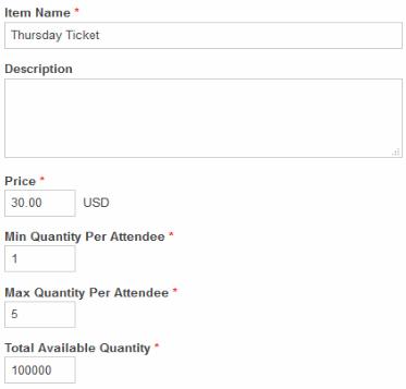 Set event prices