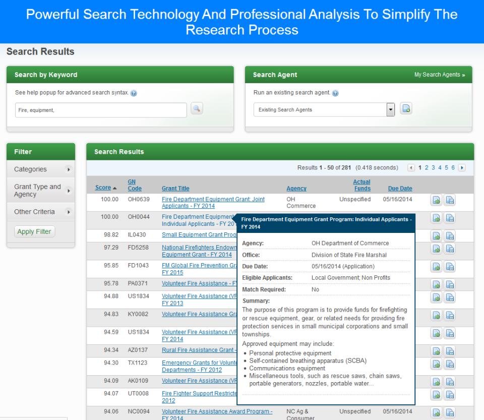 eCivis search grant