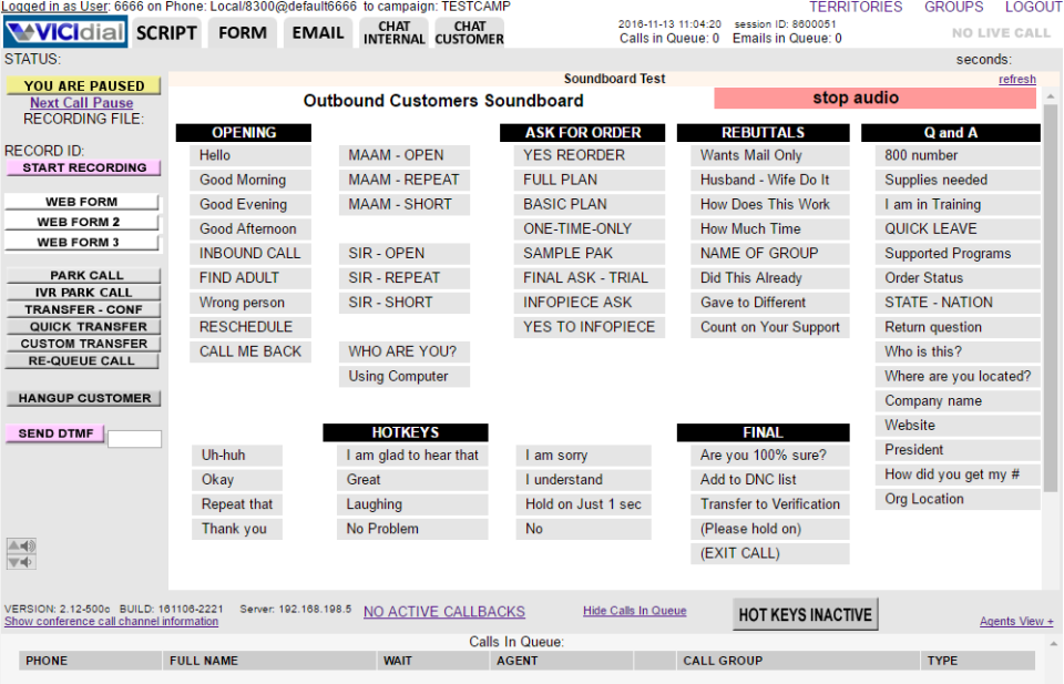 VICIdial Software - Example view of the agent screen showing the Outbound Customers Soundboard, with the ability to hotkey common phrases