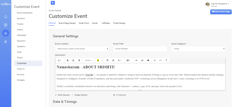 Vufora Software - VUFORA event customization