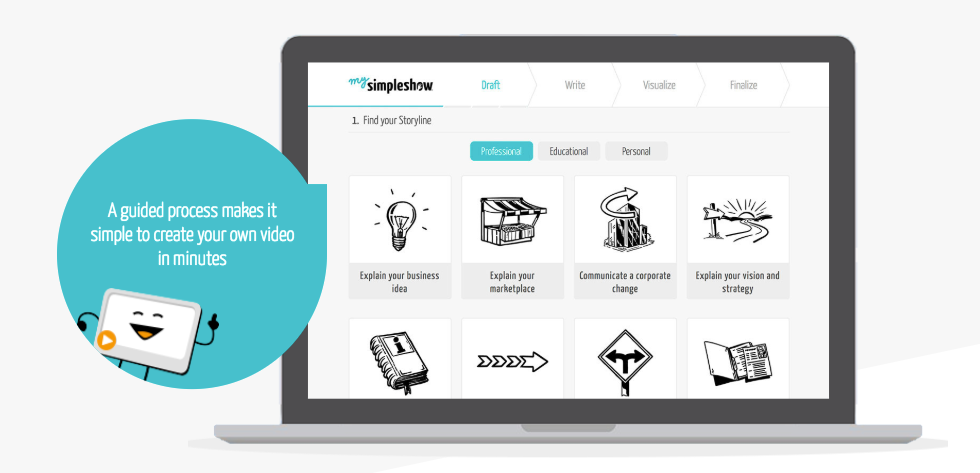 A guided workflow allows users to create their own explainer videos