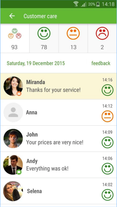 The customer app (Loyalty Ocean) allows visitors to leave private feedback