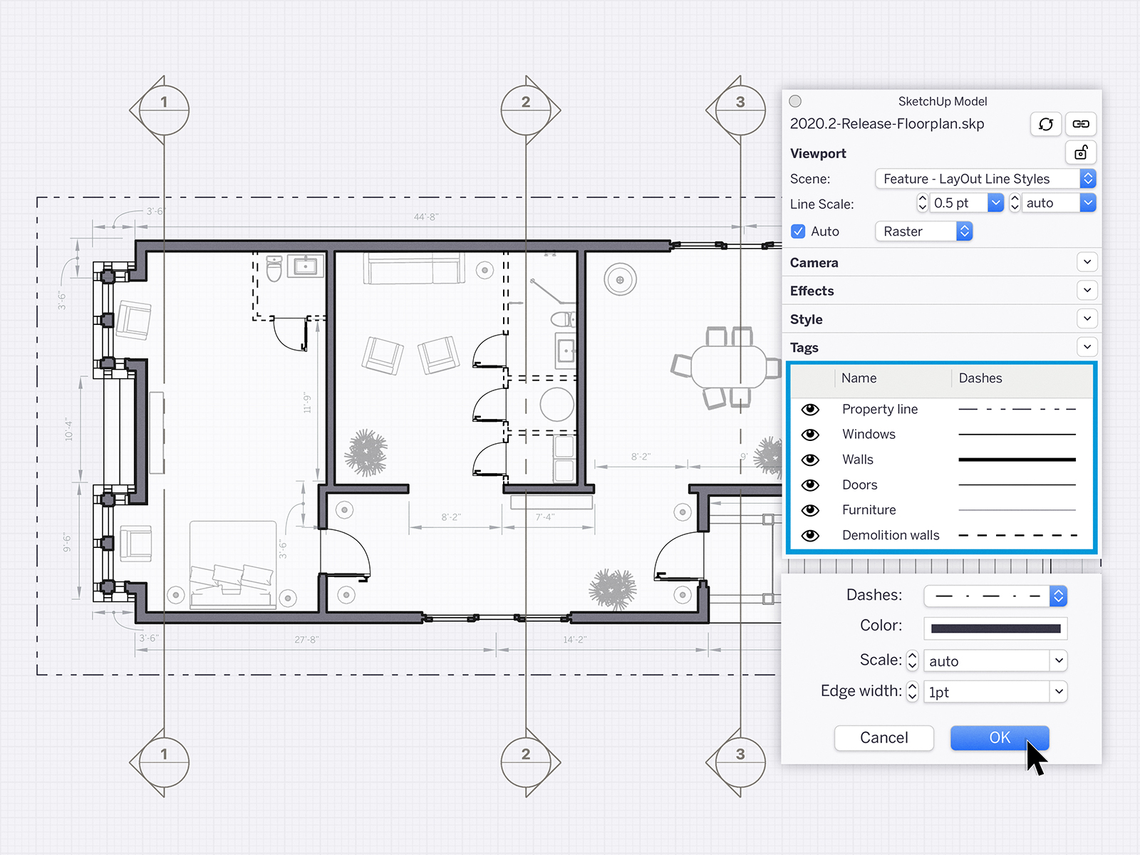 Turn your 3D models into detailed documents. With LayOut, you can customize your views, add details and dimensions, and create title blocks. The best part: when your 3D model updates, so do your drawings.