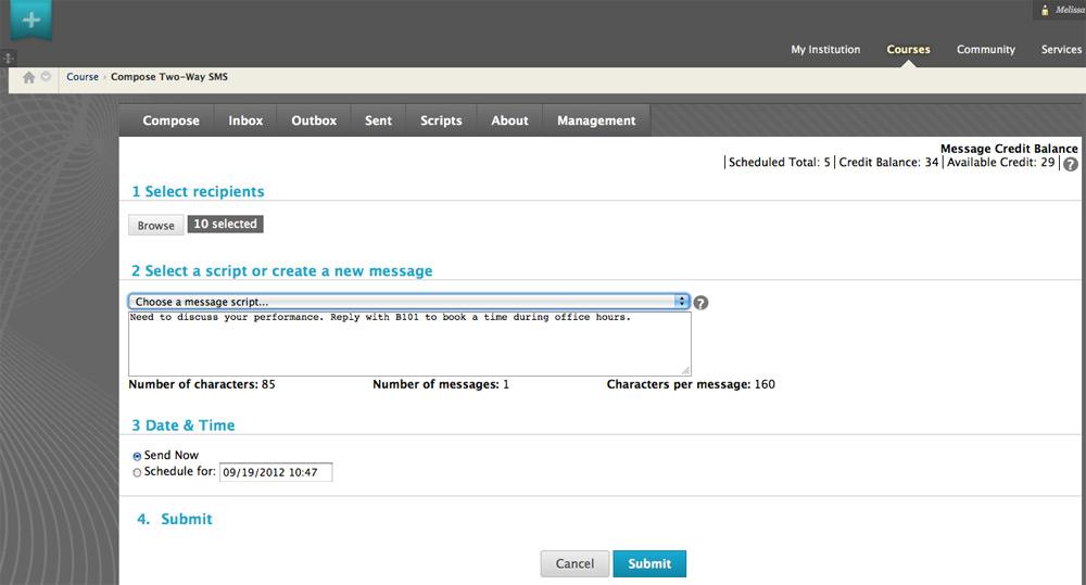 Blackboard Learn Software - Instructor messaging