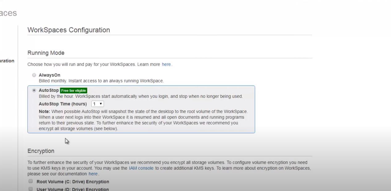 Amazon WorkSpaces configuration settings