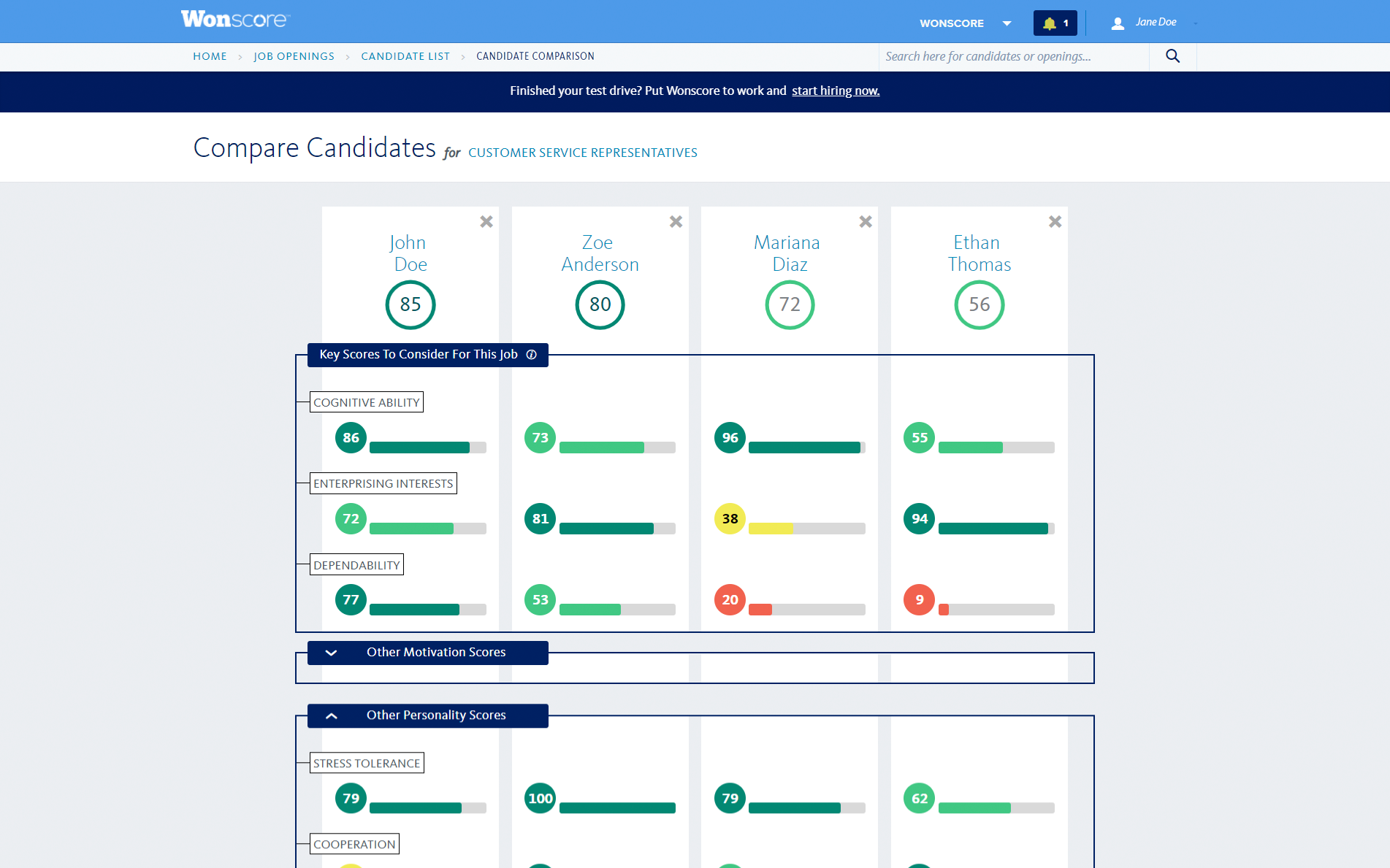 WonScore compare candidates