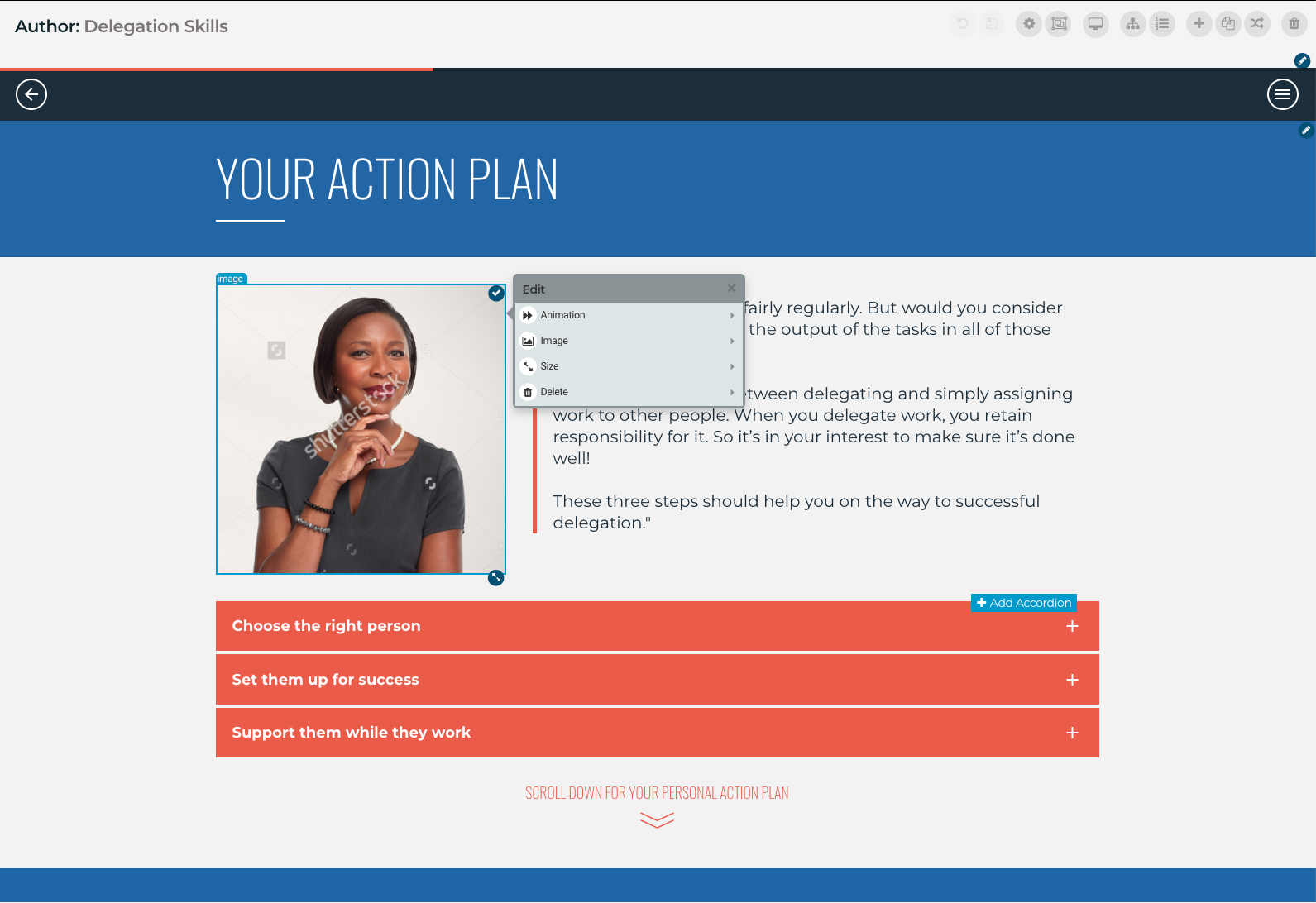 Elucidat's WYSIWYG authoring interface that makes it quick and easy to add and edit your content.