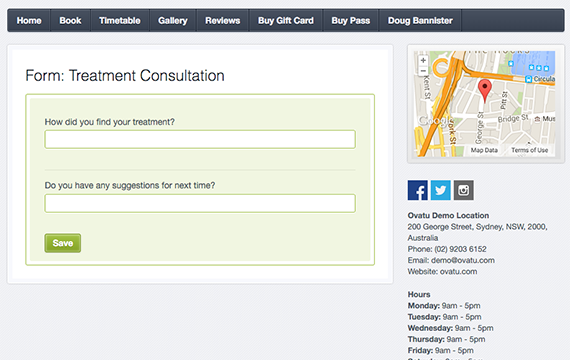 Online feedback or consultation forms can be generated and sent to customers via email