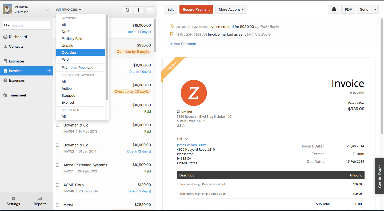 Zoho Invoice - Invoice Status