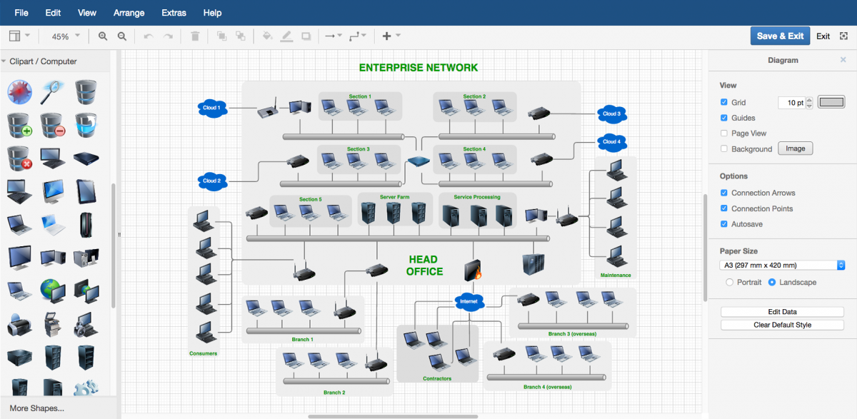 Create a detailed illustration of a network with all of its devices