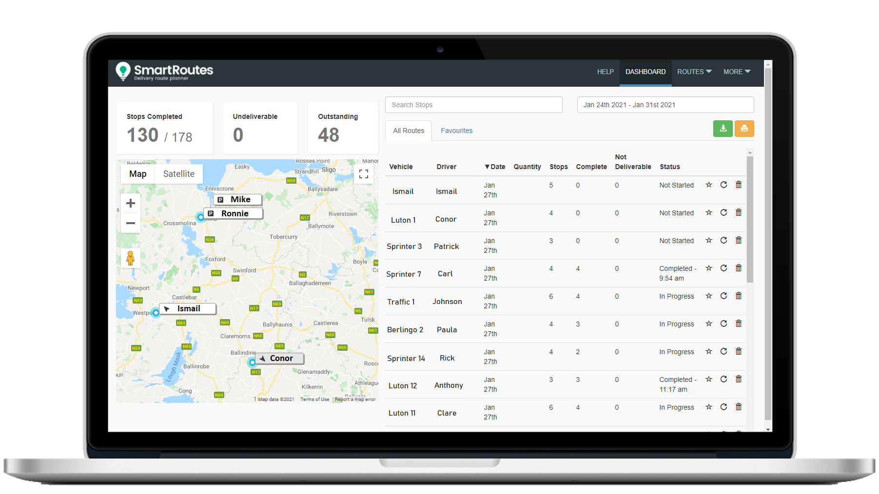 SmartRoutes Live Vehicle Tracking