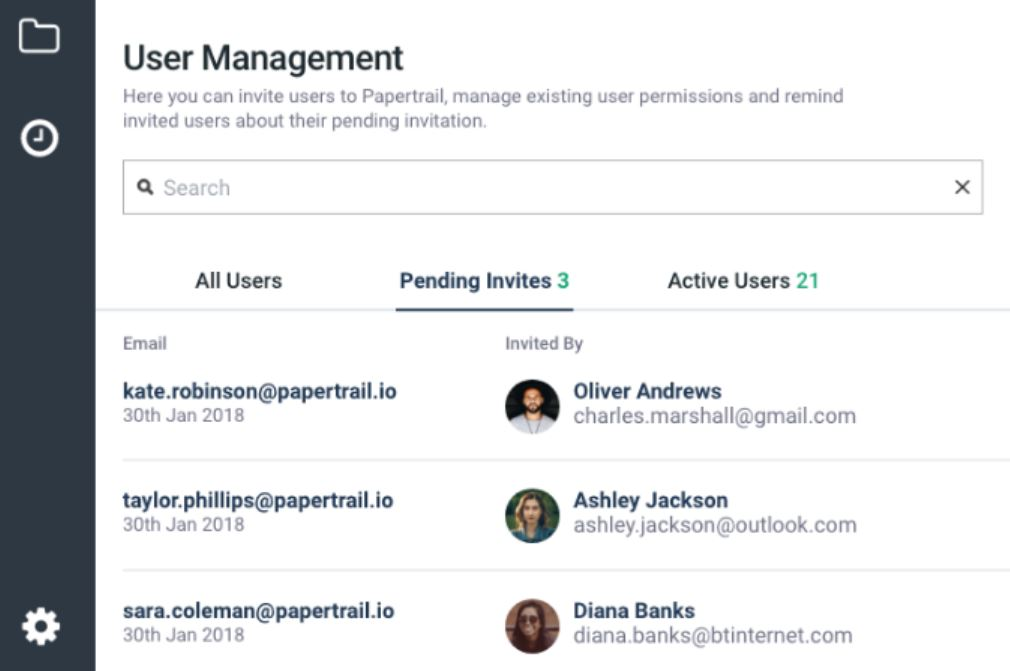 Papertrail user management