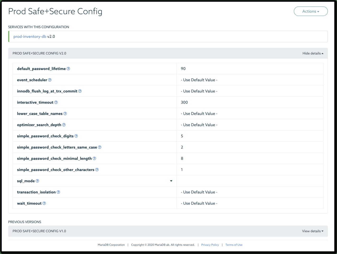MariaDB SkySQL configuration management