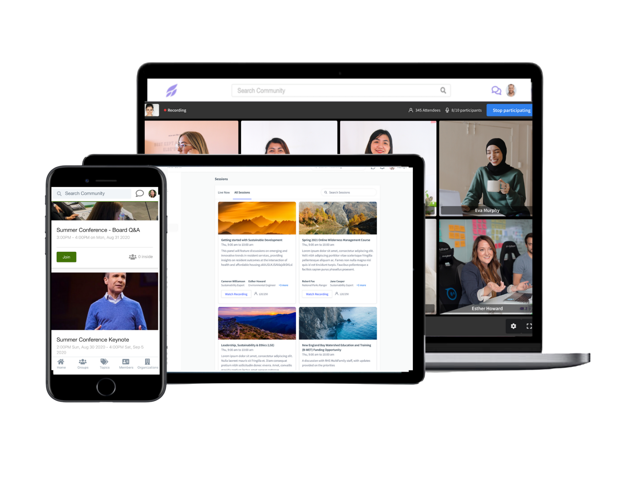 Virtual meetings and conference tools with built-in ticketing, attendee records, and post-event recordings.