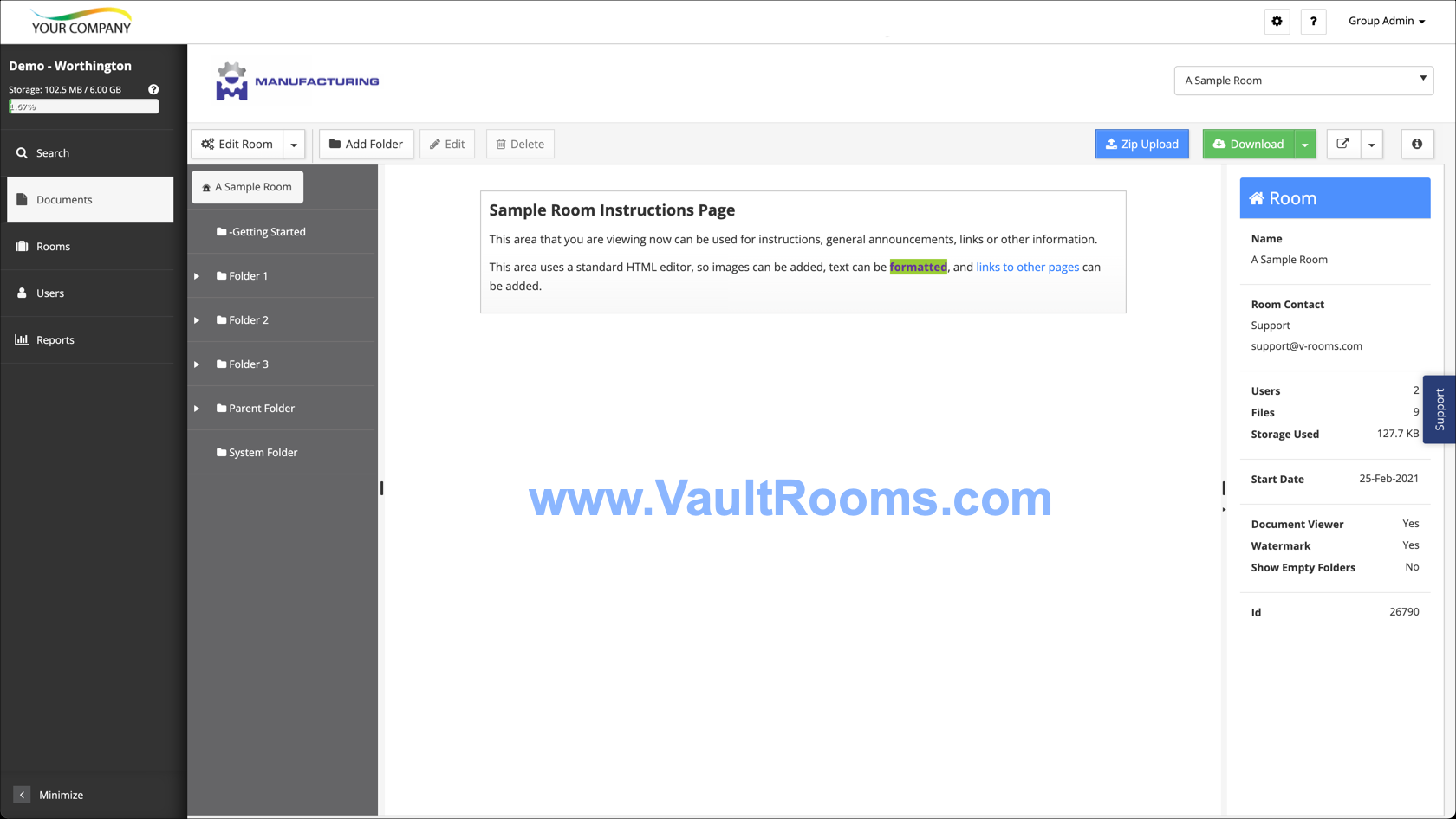 Vault Rooms Documents Screen