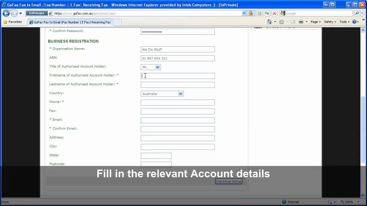 GoFax account details